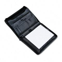 Pad Holder, Leather-Look, Zipper, File Pockets, Writing Pad, Black