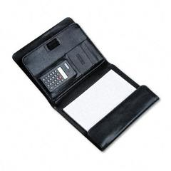 Pad Holder w/Calculator, Leather-Look, Gusset Organizer, Writing Pad, Black