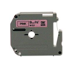 P-Touch M Series Tape Cartridge for P-Touch Labelers, 3/8w, Black on Pink
