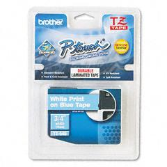 Brother P-Touch TZ Standard Adhesive Laminated Labeling Tape, 3/4w, White on Blue