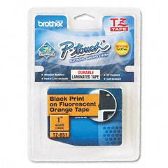 Brother P-Touch TZ Standard Adhesive Laminated Labeling Tape, 1w, Black on Fluorescent Orange