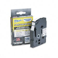 Brother P-Touch TZ Industrial Series Fabric Iron-On Tape, Navy-on-White, 1/2 x 9.8ft
