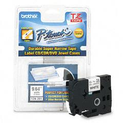 Brother P-Touch TZ Super-Narrow Non-Laminated Tape for P-Touch Labeler, 1/8w, Black on White