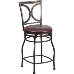 Flash Furniture 24'' Brown Metal Counter Height Stool with Brown Leather Swivel Seat