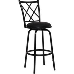 Flash Furniture 29'' Black Metal DUAL Height Counter or Bar Stool with Black Leather Swivel Seat