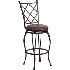 Flash Furniture 29'' Brown Metal Bar Stool with Brown Leather Swivel Seat