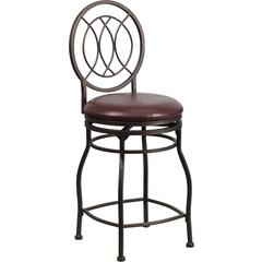 24'' Brown Metal Counter Height Stool with Brown Leather Swivel Seat