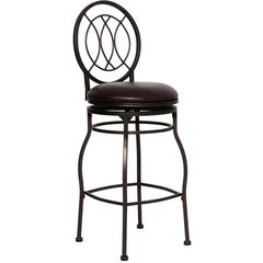 29'' Brown Metal Bar Stool with Brown Leather Swivel Seat