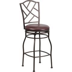 Flash Furniture 29'' Brown Metal Bar Stool with Brown Leather Swivel Seat