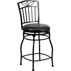 Flash Furniture 24'' Black Metal Counter Height Stool with Black Leather Swivel Seat