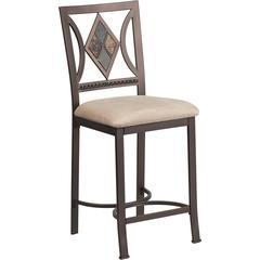 24'' Brown Metal Counter Height Stool with Beige Microfiber Seat