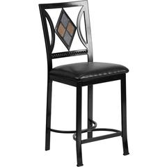 24'' Black Metal Counter Height Stool with Black Leather Seat