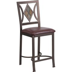 24'' Brown Metal Counter Height Stool with Brown Leather Seat