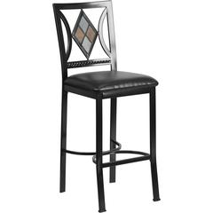 Flash Furniture 29'' Black Metal Bar Stool with Black Leather Seat