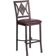 29'' Brown Metal Bar Stool with Brown Leather Seat