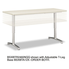basyx Rectangular Training Table Top Without Grommets, 60w x 24d, Light Gray