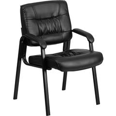 Flash Furniture Black Leather Executive Side Chair with Black Frame Finish