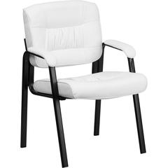 White Leather Executive Side Reception Chair with Black Frame Finish