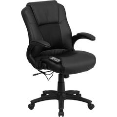 Massaging Black Leather Executive Swivel Chair with Arms