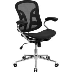Flash Furniture Mid-Back Black Mesh Swivel Task Chair with Chrome Base and Padded Arms