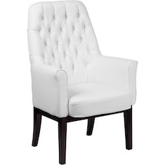 High Back Traditional Tufted White Leather Side Reception Chair