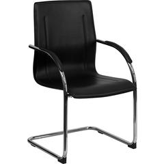 Black Vinyl Side Chair with Chrome Sled Base