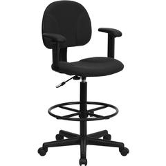 Flash Furniture Black Patterned Fabric Ergonomic Drafting Chair with Height Adjustable Arms (Adjustable Range 22.5''-27''H or 26''-30.5''H)