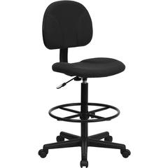 Flash Furniture Black Patterned Fabric Ergonomic Drafting Chair (Adjustable Range 22.5''-27''H or 26''-30.5''H)