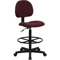 Burgundy Fabric Ergonomic Drafting Chair (Adjustable Range 22.5''-27''H or 26''-30.5''H)