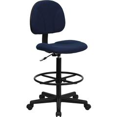 Flash Furniture Navy Blue Patterned Fabric Ergonomic Drafting Chair (Adjustable Range 22.5''-27''H or 26''-30.5''H)