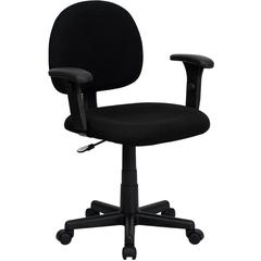 Flash Furniture Low Back Ergonomic Black Fabric Swivel Task Chair with Height Adjustable Arms