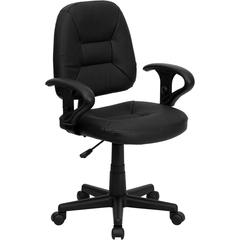 Flash Furniture Mid-Back Black Leather Ergonomic Swivel Task Chair with Height Adjustable Arms