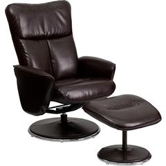 Flash Furniture Contemporary Brown Leather Recliner and Ottoman with Circular Leather Wrapped Base