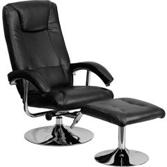 Contemporary Black Leather Recliner and Ottoman with Chrome Base