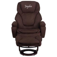 Personalized Contemporary Brown Microfiber Recliner and Ottoman with Swiveling Mahogany Wood Base
