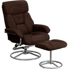Contemporary Brown Microfiber Recliner and Ottoman with Metal Base