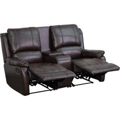 Flash Furniture Allure Series 2-Seat Reclining Pillow Back Brown Leather Theater Seating Unit with Cup Holders