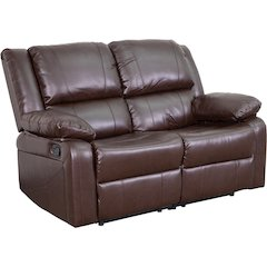 Harmony Series Brown Leather Loveseat with Two Built-In Recliners