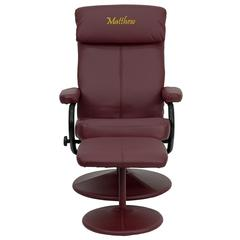 Personalized Contemporary Burgundy Leather Recliner and Ottoman with Leather Wrapped Base