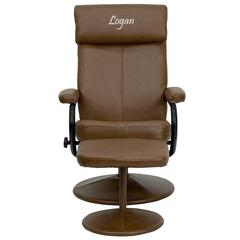 Personalized Contemporary Palomino Leather Recliner and Ottoman with Leather Wrapped Base