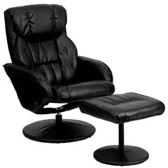 Contemporary Black Leather Recliner and Ottoman with Circular Leather Wrapped Base