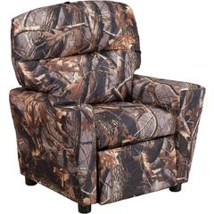 Contemporary Camouflaged Fabric Kids Recliner with Cup Holder