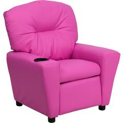 Flash Furniture Contemporary Hot Pink Vinyl Kids Recliner with Cup Holder