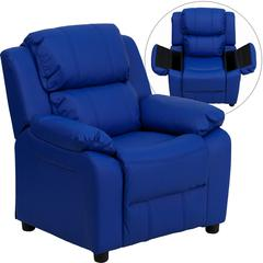 Flash Furniture Deluxe Padded Contemporary Blue Vinyl Kids Recliner with Storage Arms