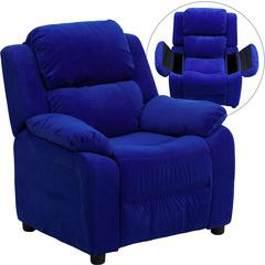 Flash Furniture Deluxe Padded Contemporary Blue Microfiber Kids Recliner with Storage Arms