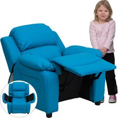 Deluxe Padded Contemporary Turquoise Vinyl Kids Recliner with Storage Arms