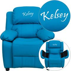 Personalized Deluxe Padded Turquoise Vinyl Kids Recliner with Storage Arms