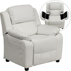 Deluxe Padded Contemporary White Vinyl Kids Recliner with Storage Arms
