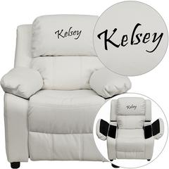 Personalized Deluxe Padded White Vinyl Kids Recliner with Storage Arms