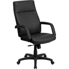 High Back Black Leather Executive Swivel Office Chair with Memory Foam Padding